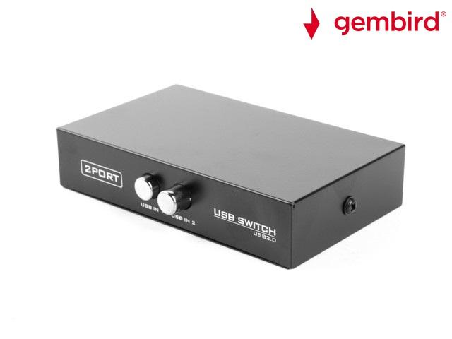 2-port manual USB v.2.0 switch Gembird,черен