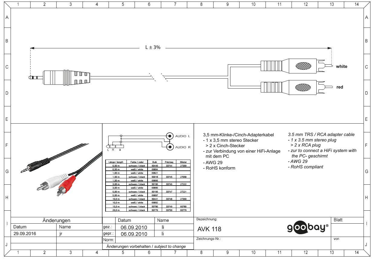 3.5 mm/M to 2 x RCA/M  3.0 m GOOBAY 50196