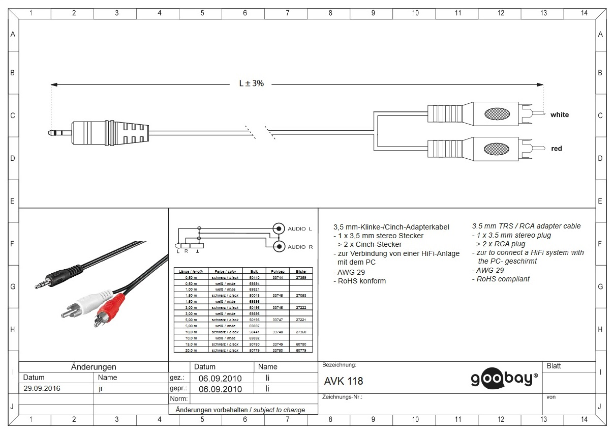 3.5 mm/M to 2 x RCA/M  5.0 m GOOBAY 50195