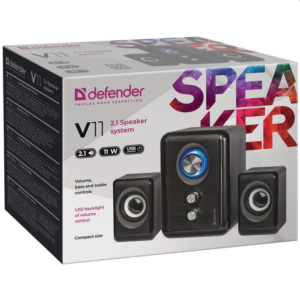 Акустична система Defender V11,LED подсветка,2.1