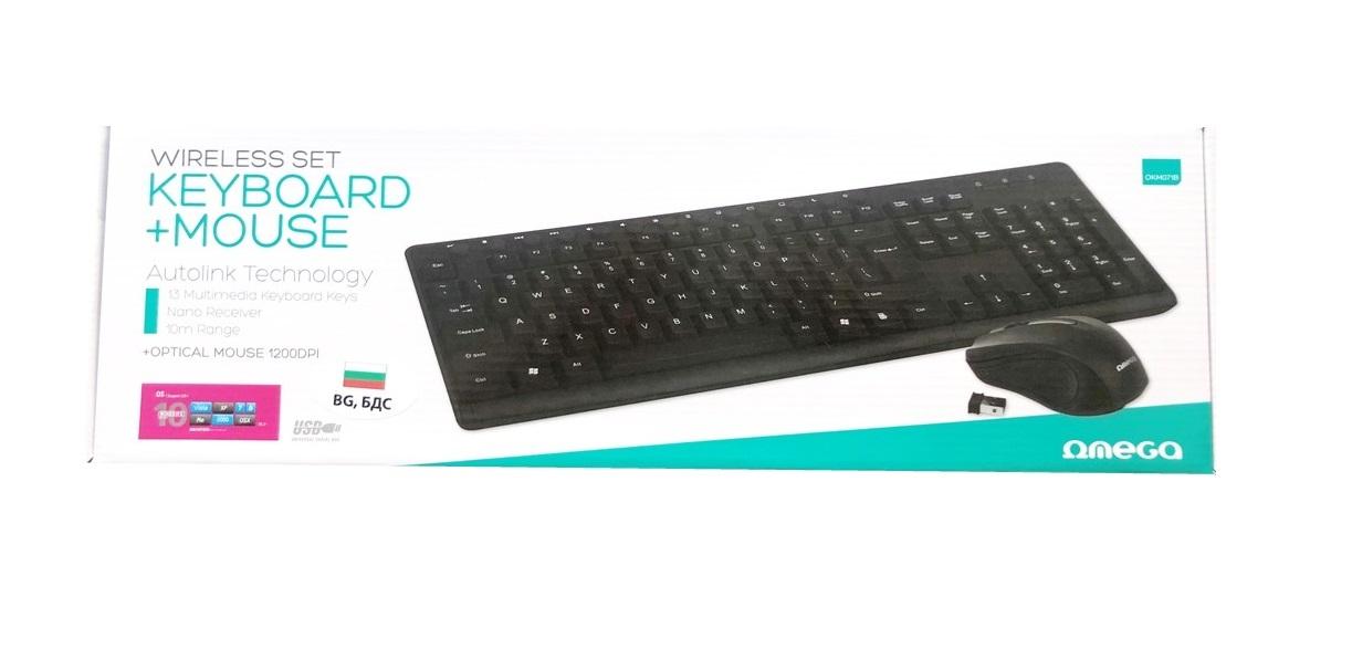Безжична клавиатура с мишка Omega OKM071B,BG