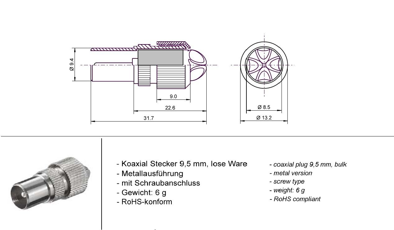 Coaxial plug 9,5 mm GOOBAY 11479 (10бр.)