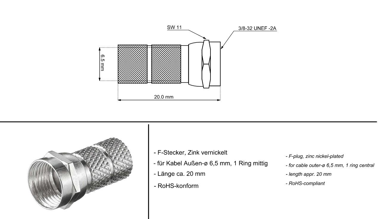 F Connector 6.5mm Мale GOOBAY 51853 (10бр.)
