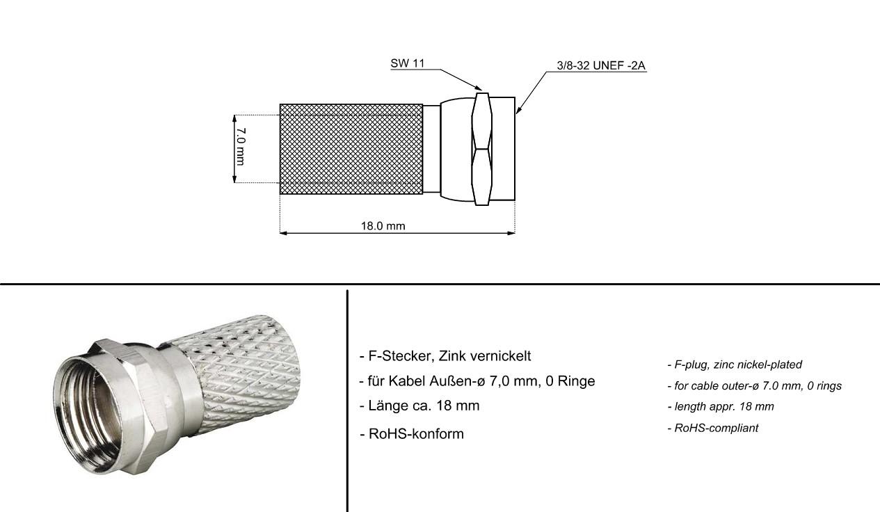 F Connector 7.0mm Мale GOOBAY 11623 (10бр.)