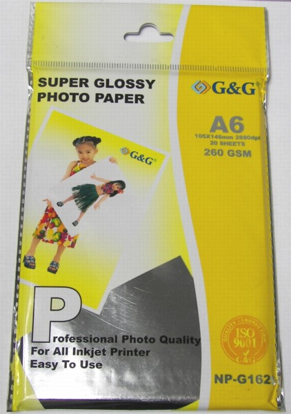 Фотохартия G&G NP-1626; A6; Glossy