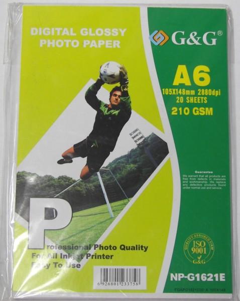Фотохартия G&G NP-G1621 A6; 20 sheets; Glossy