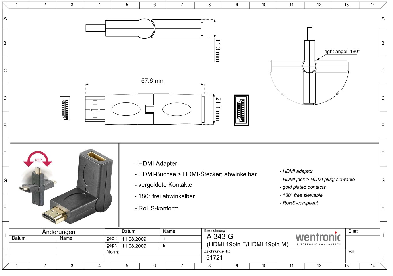 HDMI-F to HDMI-male 180° Adapter GOOBAY 51721