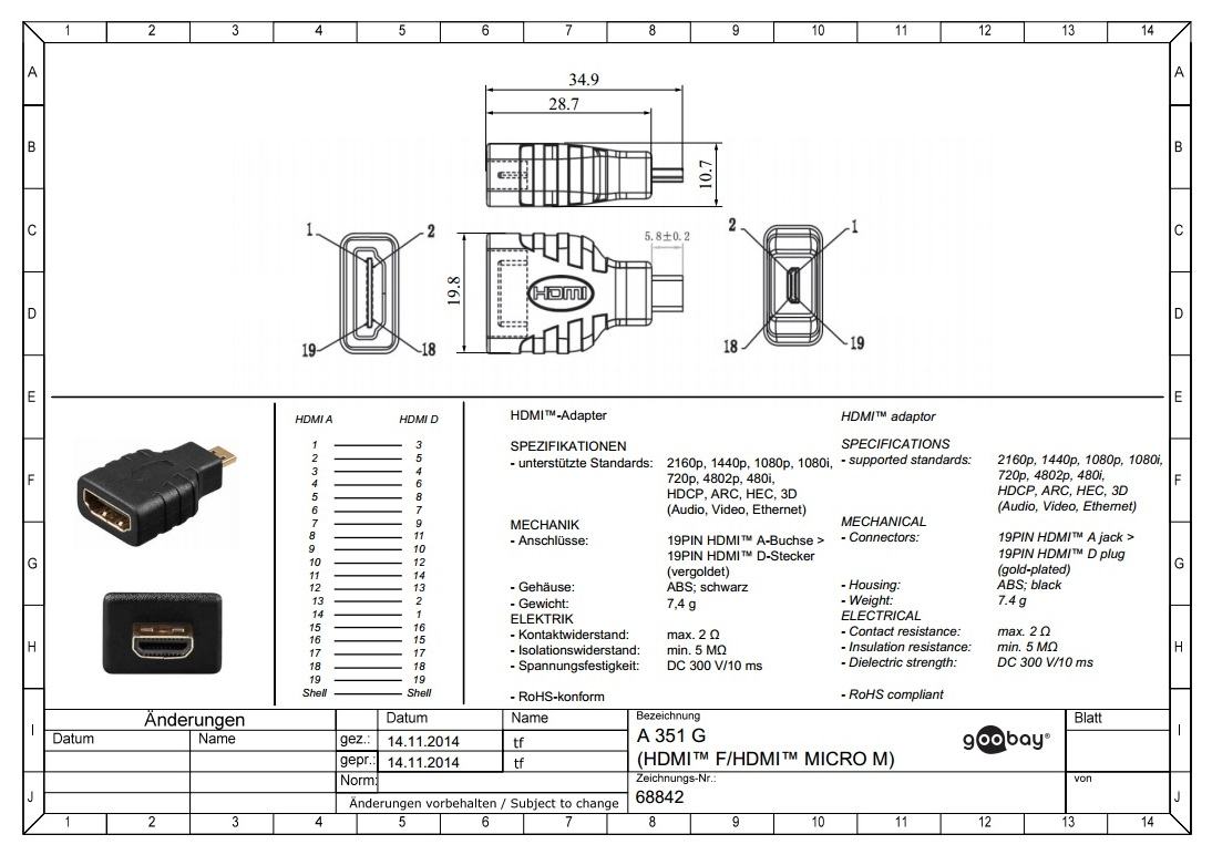 HDMI-F to Micro HDMI-M Адаптер Goobay 68842,gold