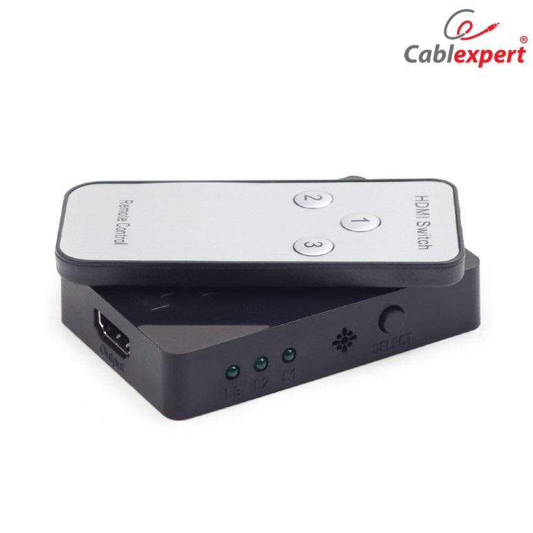 HDMI interface switch, 3 ports Cablexpert,черен