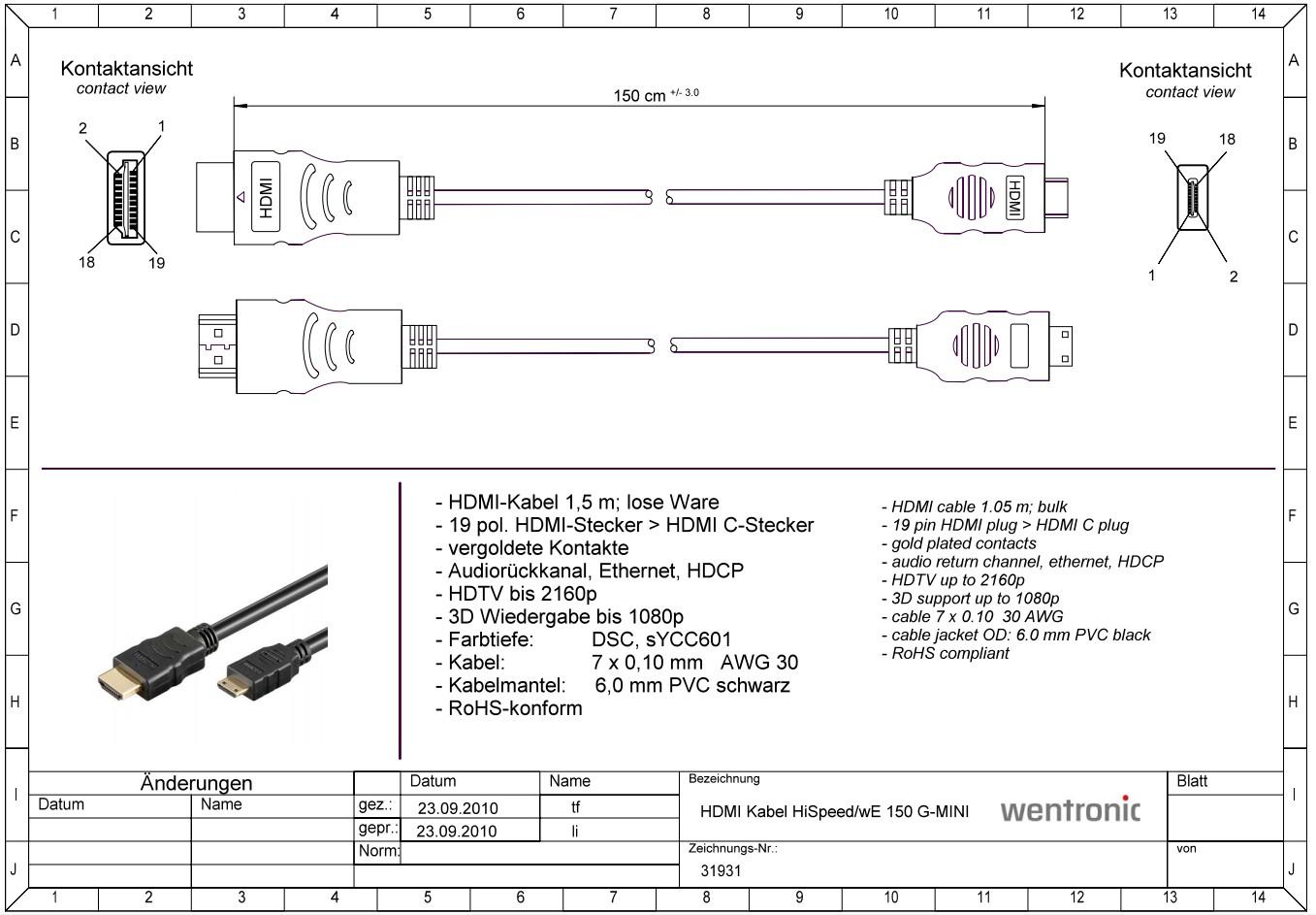 HDMI to HDMI Mini (type C) 1.5 m (v1.4) GOOBAY