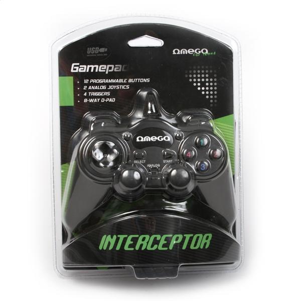Жичен геймпад Omega Interceptor, за PC, Черен