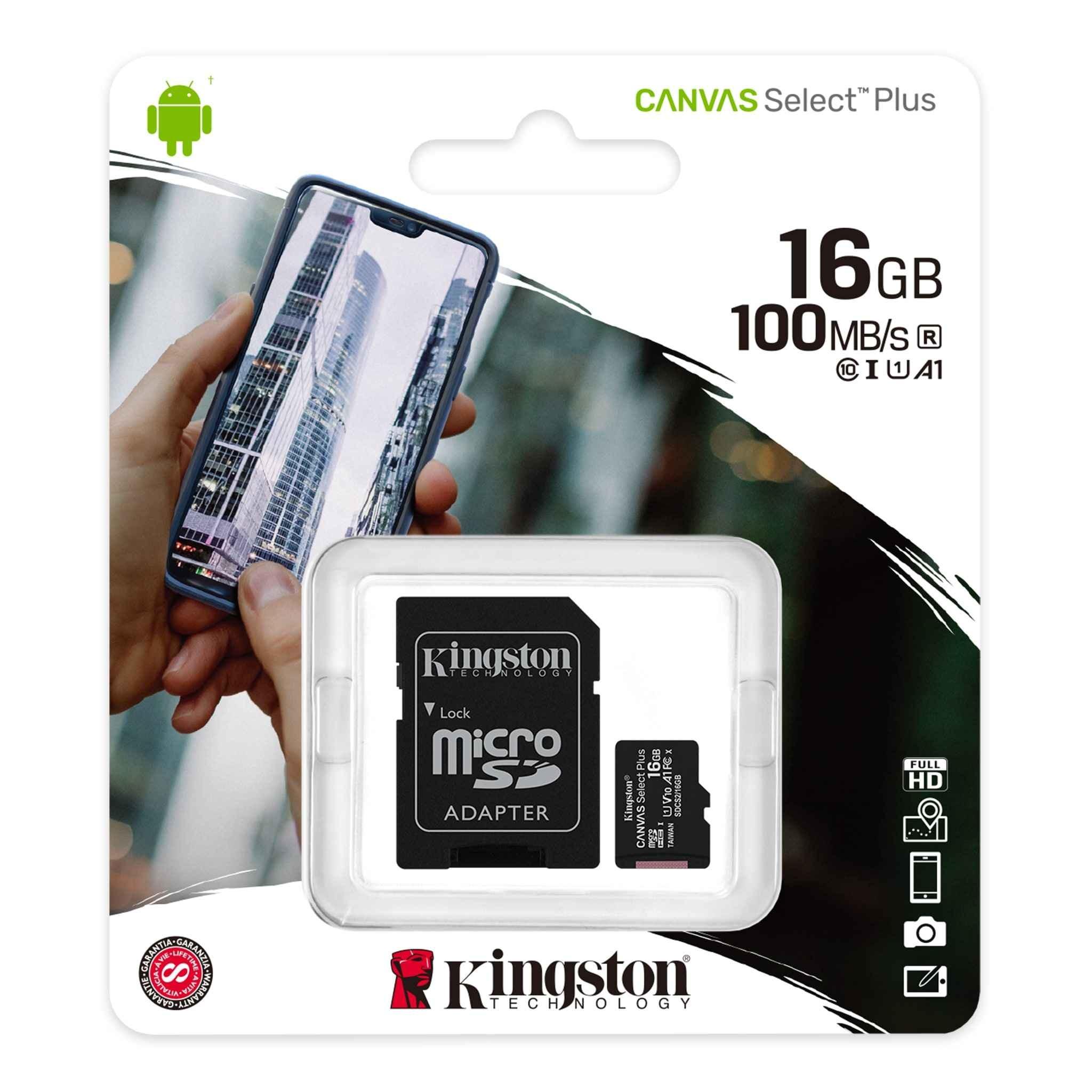 Карта памет  16 GB Kingston Canvas Select Plus