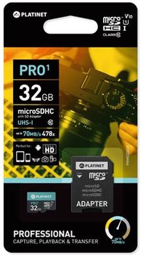 Карта памет  32 GB Platinet PMMSD32UI microSD