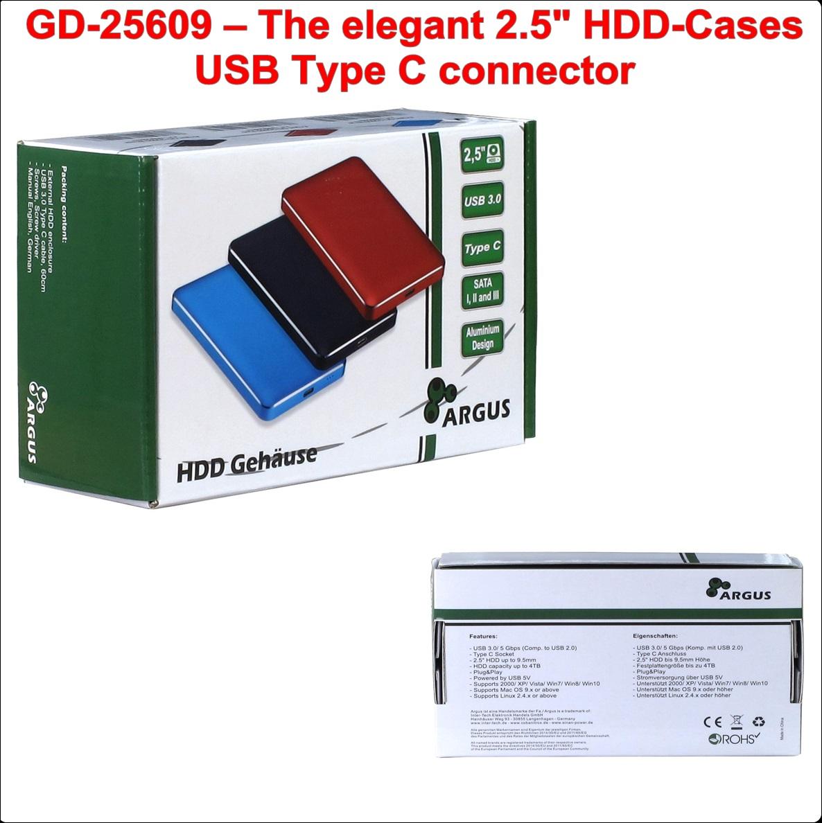 Кутия за диск 2.5``USB Type C (GD-25609 Black)