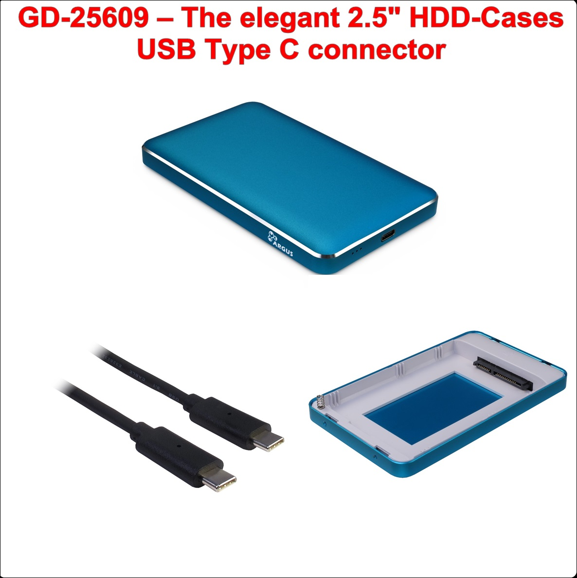 Кутия за диск 2.5``USB Type C (GD-25609 Blue)