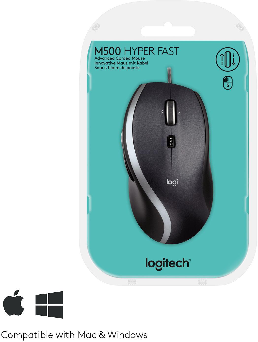 Лазерна мишка Logitech M500,USB,черна