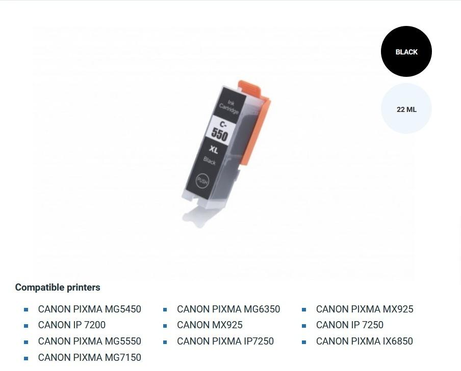 Мастилница Canon 550XL Black(6431B001) С-ма