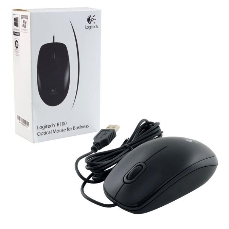 Оптична мишка Logitech B100, USB, Черна