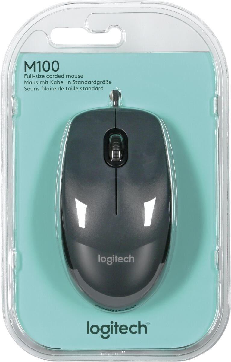 Оптична мишка Logitech M100,USB,черно/сива