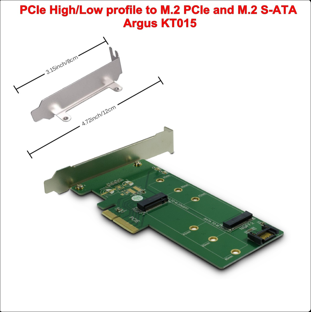 PCI-E High Low to M.2 PCIe and M.2 S-ATA KT015