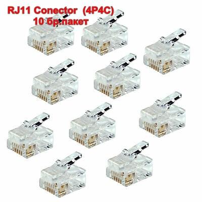 RJ11 Conector  (4P4C) (10 бр.пакет)