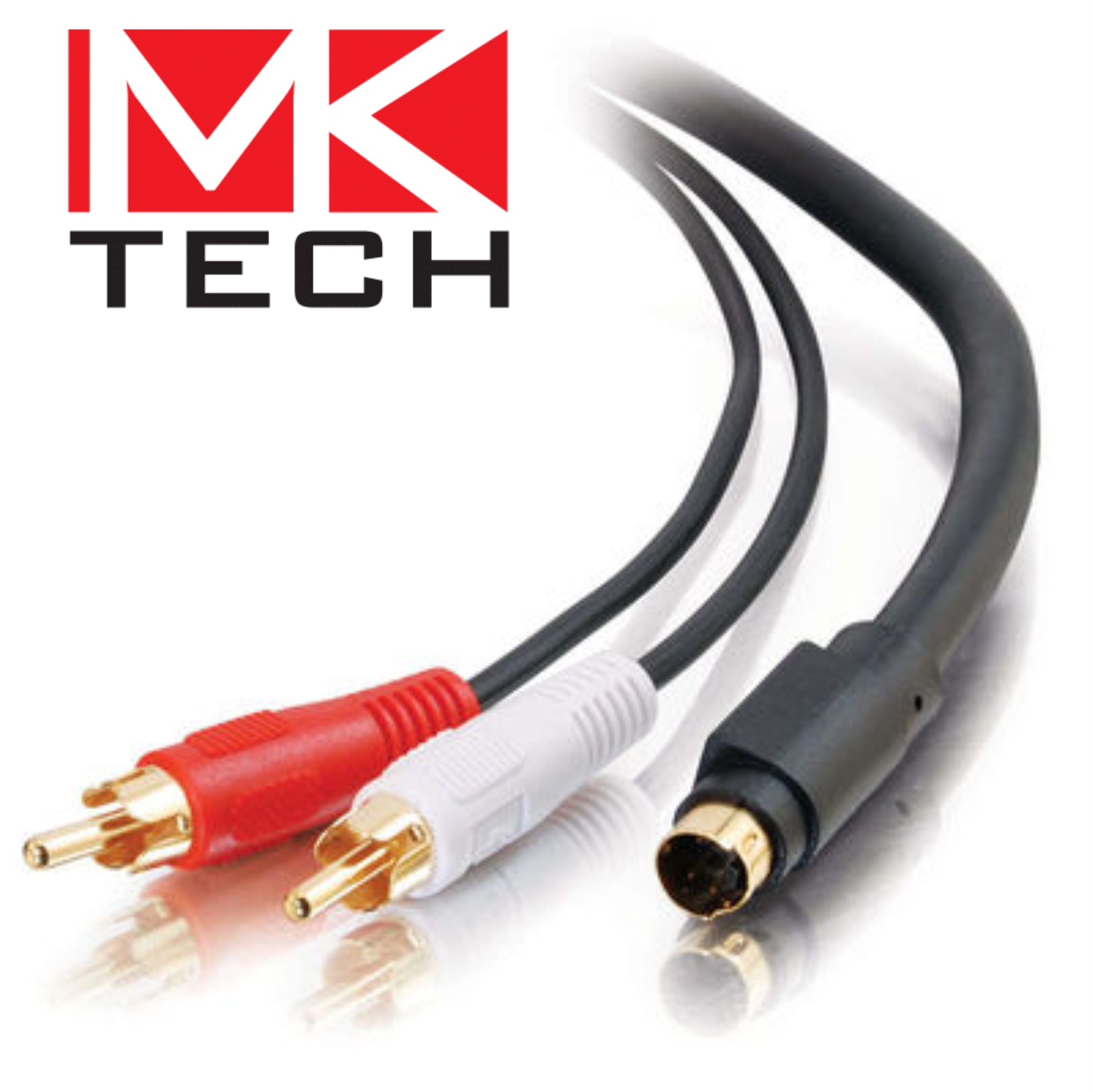 S-Video-M to Dual RCA-M Кабел (Y). 3m MKTECH