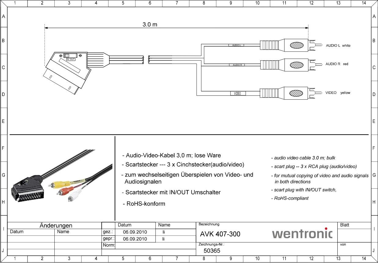 Scart M 21-pin to 3 RCA Audio/Video 3.0m GOOBAY