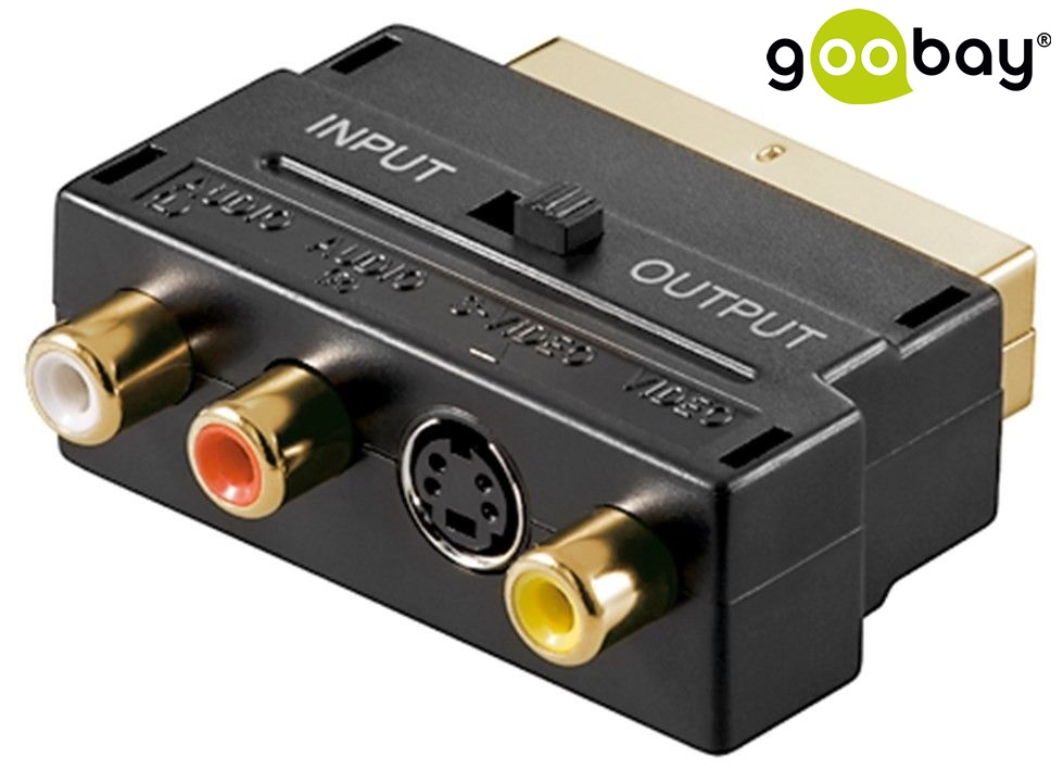 Scart/M(21-pin) to 3x RCA/F+SVideo IN/OUT GOOBAY