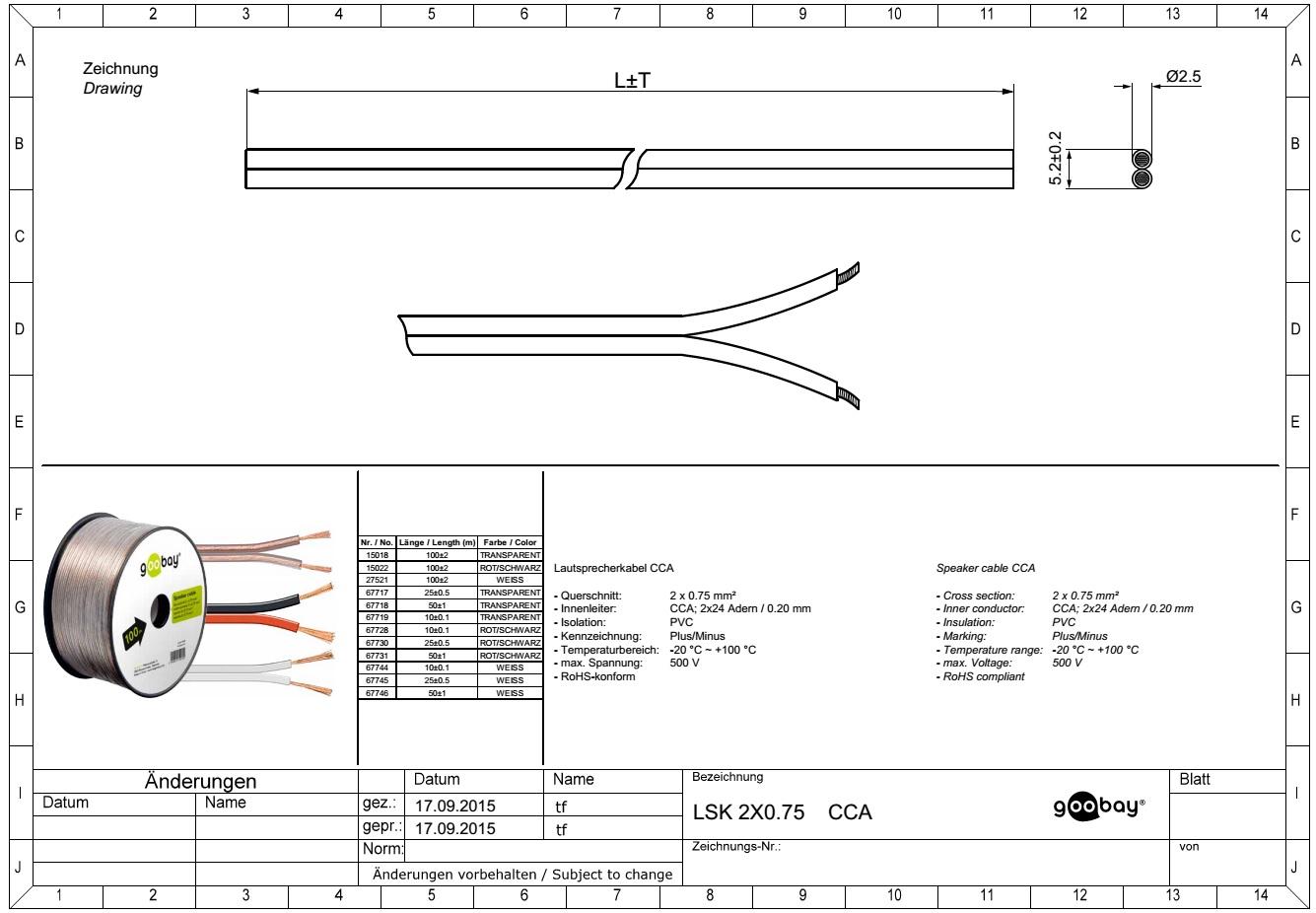 Speaker cable (10.0m Ролка 2 x 0.75mm)GOOBAY