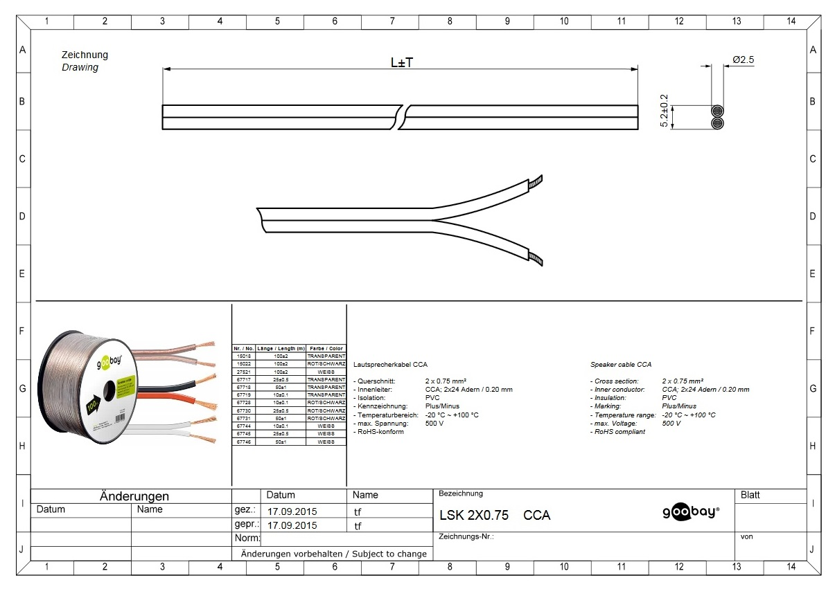 Speaker cable (50.0m ролка 2 x 0.75mm)GOOBAY