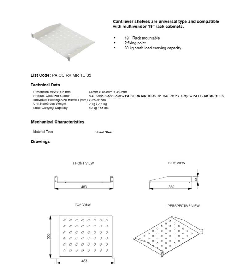 Tава за комуникационен шкаф 350mm