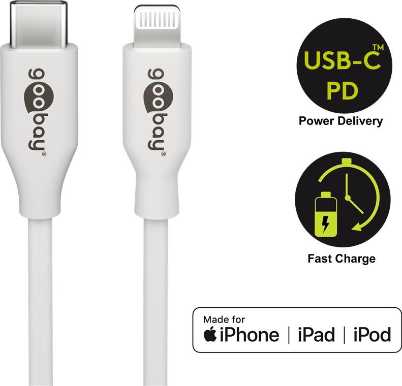 USB-C - Apple Lightning 1.0m/87 W Goobay Бял