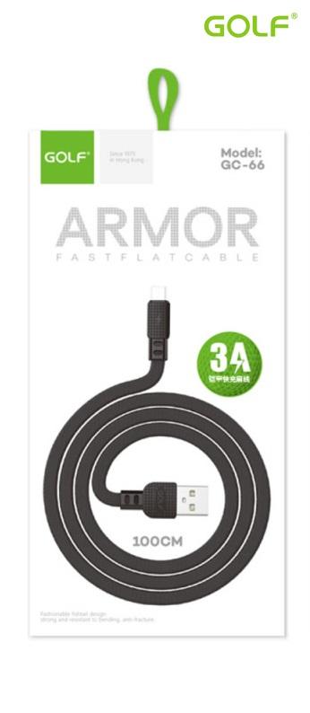 USB to Micro USB (1.0m)3А Golf ARMOR черен