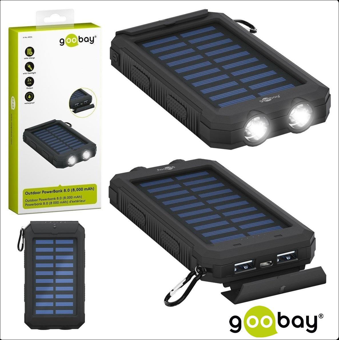 Външна батерия GOOBAY 49216, 8 000mAh Solar