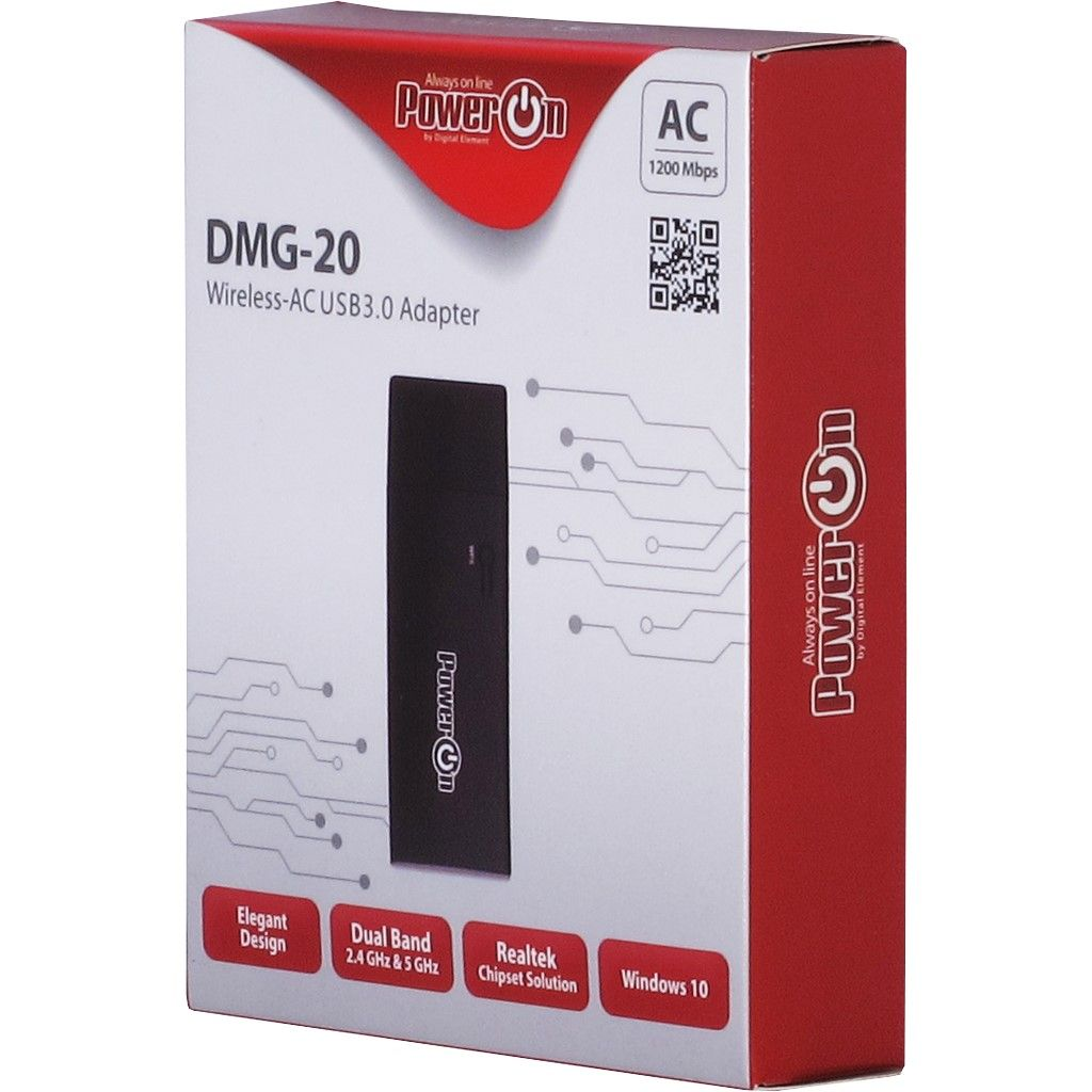 Wireless USB 2.4Ghz+5Ghz Adapter PowerON DMG-20