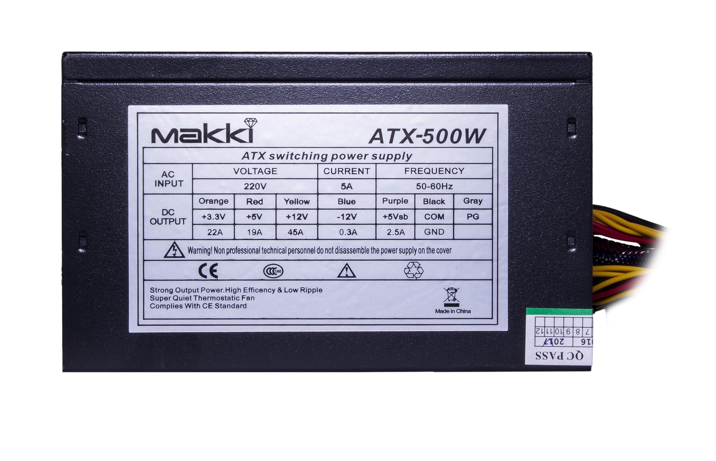 Захранващ блок 500W (Makki MAKKI-ATX-500-B-PCIE)