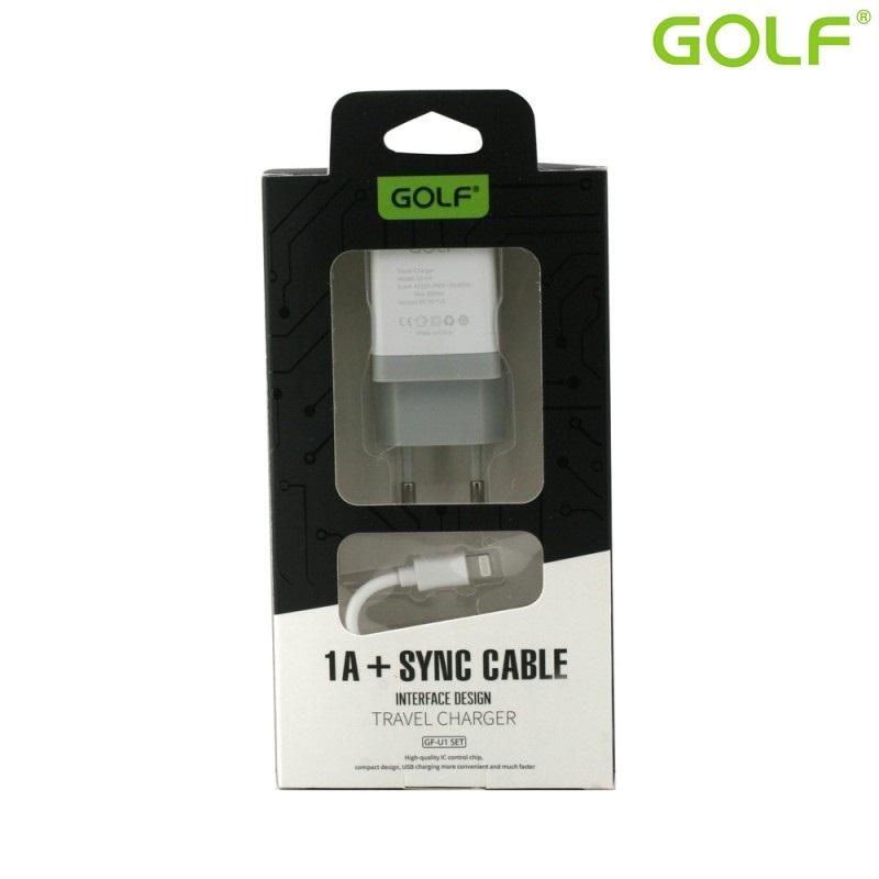 Зарядно за мрежа Golf U1SET 1A Iphone,бял