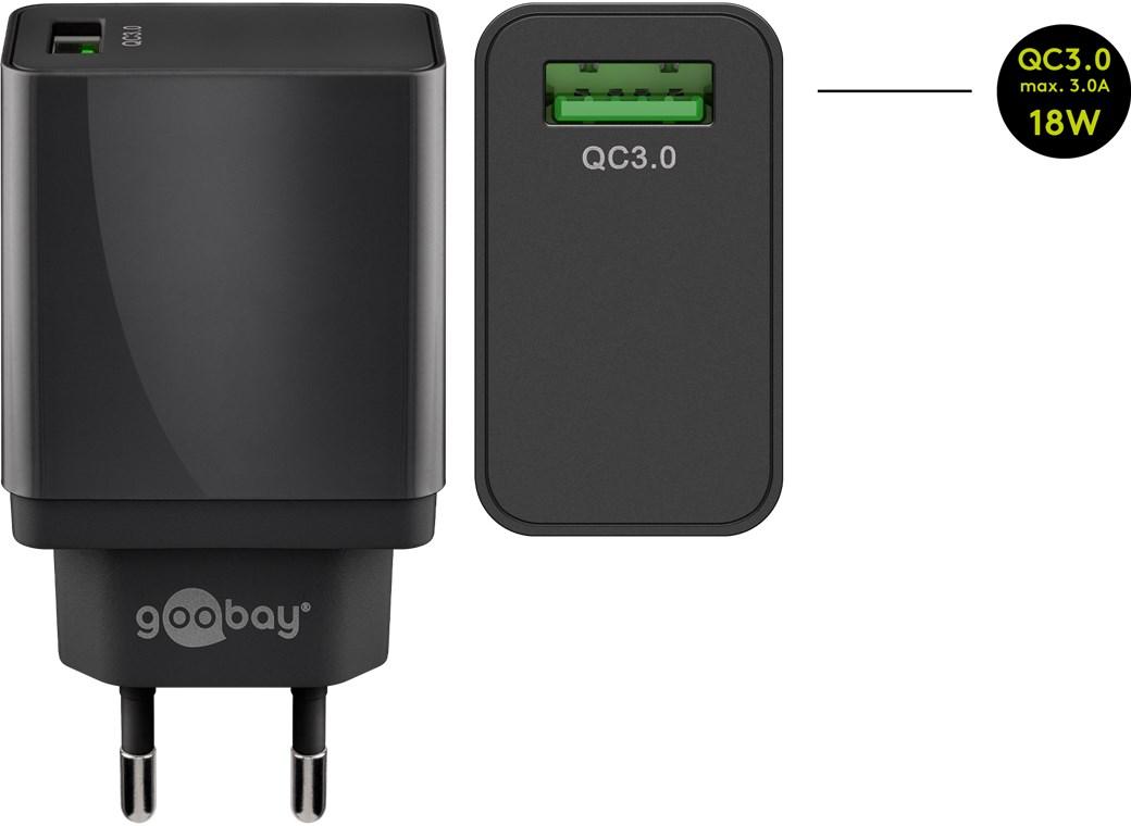 Зарядно за мрежа Goobay QC3.0 (18W) 1xUSB 3А